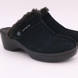Crocs Suede Clog Mules Faux Fur Shoes Slip On